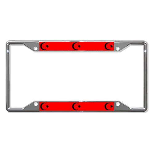 License Plate Covers Star And Crescent Religion Chrome Metal License Plate Frame Holder Four (Crescent Side Plate)