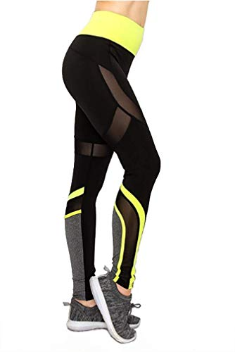 in The Cut Fitness Mesh Activewear Yoga Women's Legging Mesh Panel Solid and Camouflage Print (Lime, Large/Extra Large (6-10)) (Best La Fitness In La)