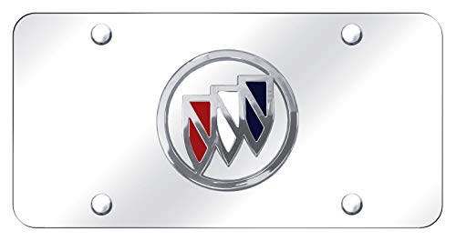 Buick Chrome Logo On Polished Steel License Plate (Plate License Buick)