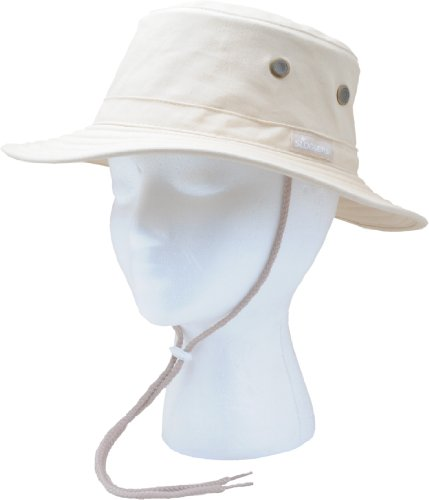 Adj Lanyard - Sloggers Classic Cotton Hat with Wind Lanyard, Stone, UPF 50+ Maximum Sun Protection, Style 4471ST