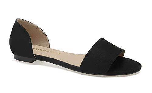 - ComeShun Womens Shoes Comfort Open Toe Slip On D'Orsay Flats Black Size 7
