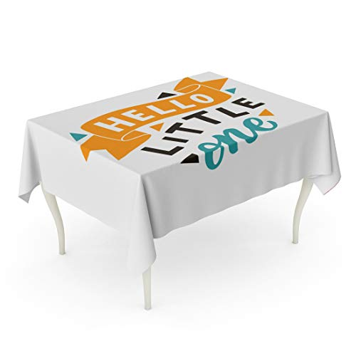 Tarolo Rectangle Tablecloth 60 x 84 Inch Colorful Baby Lettering Phrase Hello Little One Modern Kids Slogan Drawn Embossed Fun Greeting Table Cloth