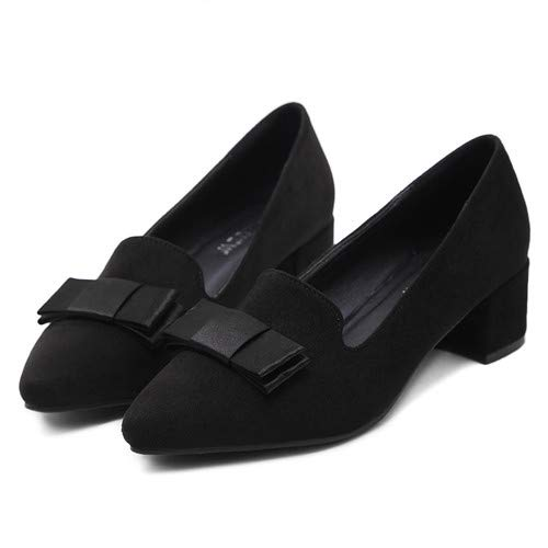 with FLYRCX sweet pointed work shoes shoes bow ladies Black thick Fashion ErXP4wqr