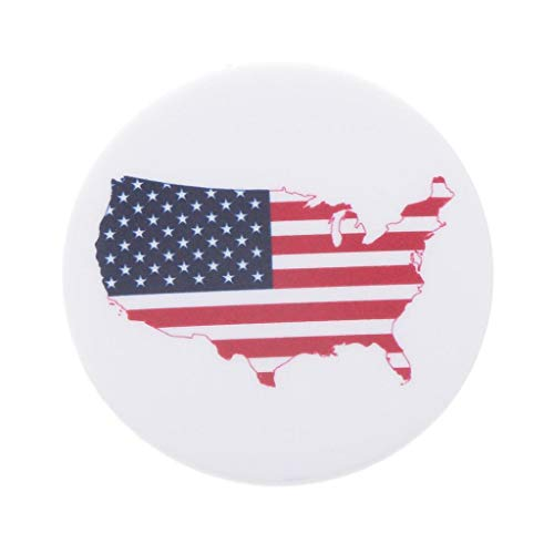 (World Flags/Maps Pin Button Badge Pin-Back Badge Union Jack Badge 1.7inch (Design - USA Map))