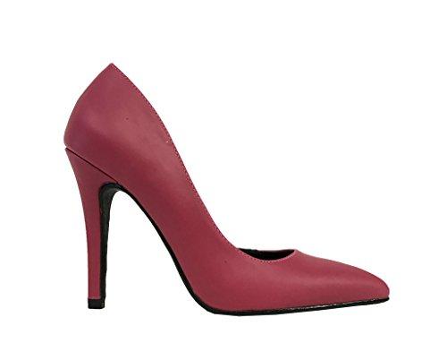 Lustacious Womens Classic Toe Dorsay Toe Slip On Pumps In Similpelle Magenta