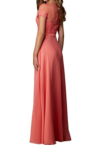 Elegant Ivydressing Aermeln Rundkragen Mit Spitze Abendkleider Royalblau Festkleider Ballkleid Damen UxxqBA5