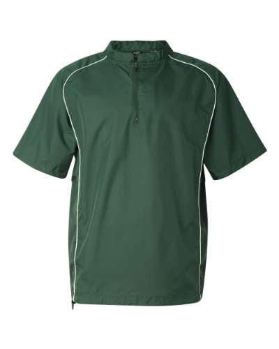 Rawlings Short Sleeve Quarter-Zip Pullover Windshirt - 9702 - Forest - XX-Large (Zip Windshirt Sleeve Short)