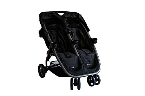 Combi Lightweight Double Unique Travel System Full Size Twin Umbrella Stroller Compatible with the Shuttle Infant Seat – Compact Fold N Go - Titanium