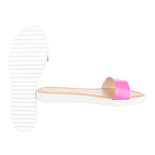 Ital-Design Pantoletten Damenschuhe Jazz & Modern Leichte Sandalen/Sandaletten Pink T165