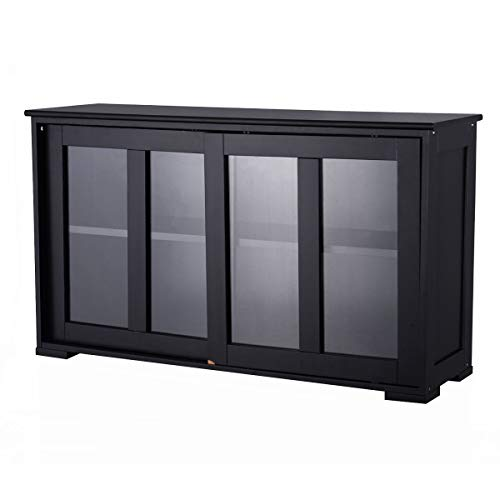 Cypressshop Kitchen Pantry Storage Cabinet Sideboard Buffet Cupboard Wood Sliding Door Dinning Pantry Organizer Furniture Home Decor