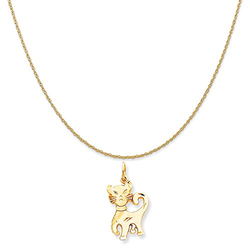 Yellow Gold Cat Charm (10k Yellow Gold Cat Charm on a 14K Yellow Gold Rope Chain Necklace, 18