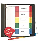 Universal Products - Universal - TOC Dividers, Assorted Color Five-Tab, 1-5, Letter, White, 6 Sets/Pack - Sold As 1 Pack - Simply print your selection titles on the Table of Contents page using your laser or inkjet printer. - Three-hole punched white divi