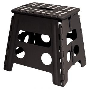 Easy Life Carry Folding Step Stool / Seat With Anti-Slip Surface 13 Inch For Kids Works Home - Black (Hide A Pet As Seen On Tv)