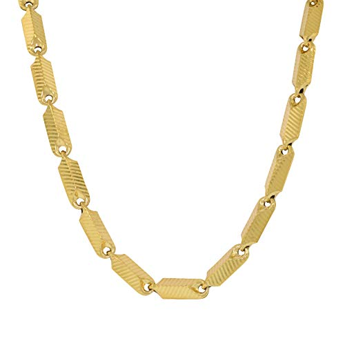 Shopjw Hollow Yellow Gold-Plated Brass 4.5mm Wide Hip Hop Style Squared Bullet Link Chain Necklace, 30