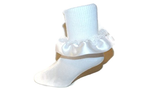 Girls Ruffle Ankle Socks with Satin & Lace in Assorted Colors (3-4.5 Baby, White) (Robin Spandex Costume)
