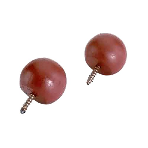 "Pair Curtain Rod Finials Raleigh Red Pine Ball 3/4"" D 