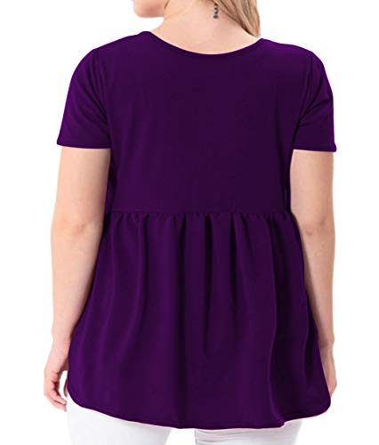 YASAKO Women's Plus Size Button Down Shirts Notch Henley V Neck Short Sleeve Pleated Flowy Blouses Casual Tunic Tops (Purple, 3X-Large)