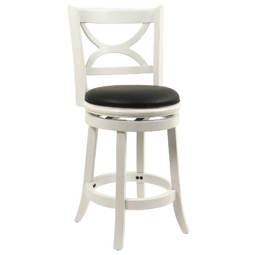 Boraam 43724 Florence Counter Height Swivel Stool, 24-Inch, Distressed White (Contemporary Leather Distressed Brown)
