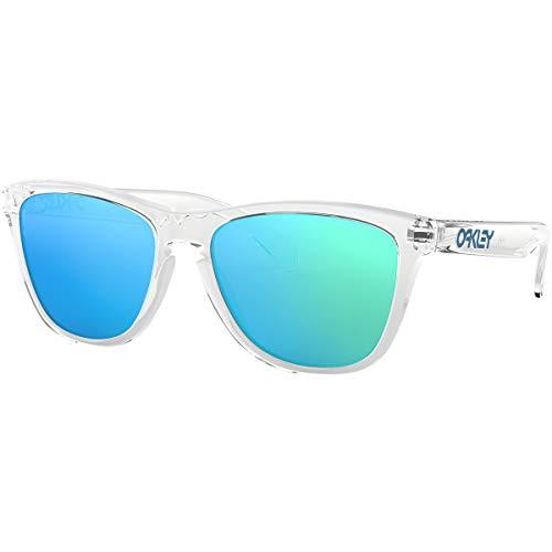 Oakley Men's OO9245 Frogskins Asian Fit Rectangular Sunglasses, Polished Clear/Sapphire Iridium, 55 mm (Oakleys Frogskin)
