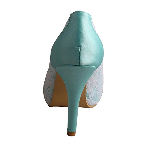Satin Women's and Heels Shoes Green Wedding Platform High Lace Mint Open Bridal Wedopus MW333 Toe zn8T5gwBq