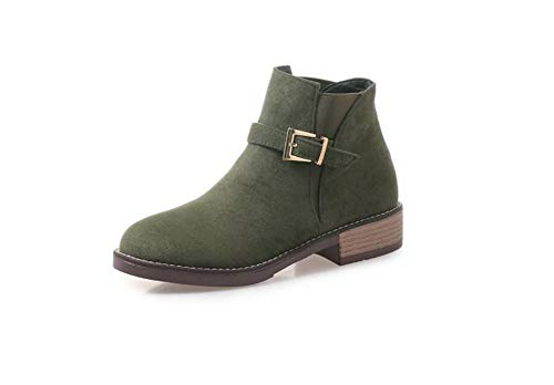 (Women's Western Round Toe Slip on Bootie Low Stack Heel Casual Buckle Ankle Boot(Green-35/4 B(M) US Women))