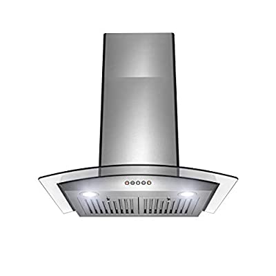 """Golden Vantage Wall Mount Range Hood –30"""" Stainless-Steel & Glass Hood Fan for Kitchen – 3-Speed Quiet Motor – Push Control Panel – Curve Modern Design – Baffle Filter & LED Lamps – Tempered Glass"""
