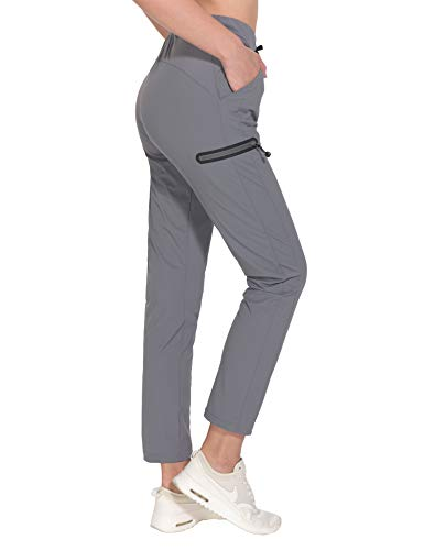 (Little Donkey Andy Women's Stretch Quick Dry Ankle Pants with Drawstring for Travel Training Running Jogging Active Sport Hiking Gray XS)