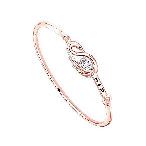 Delicate Swan - bobauna Delicate Clear Zircon Swan Bangle Bracelet I Love You Gift for Her (swan Bracelet RG)