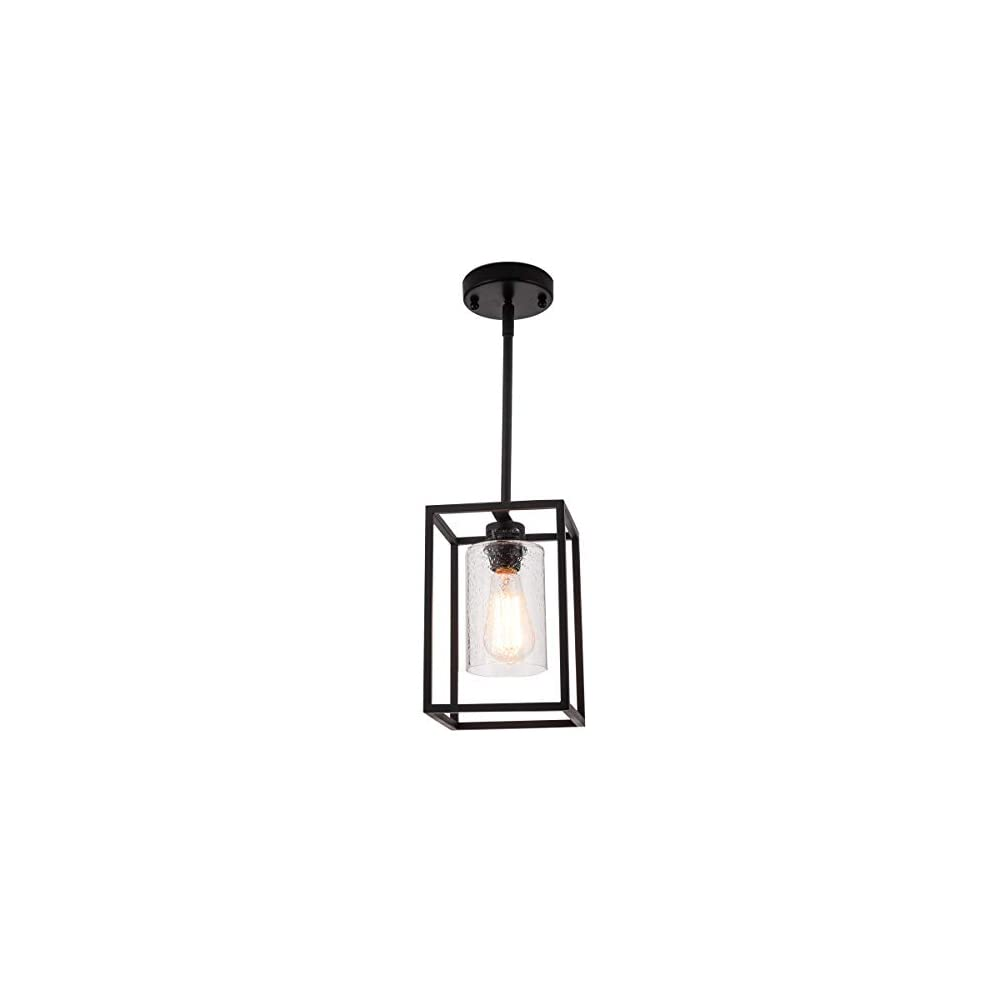 VILUXY Vintage Glass Pendant Light, Single Light Metal Cage Hanging Pendant Lighting, Black with Clear Seeded Glass…