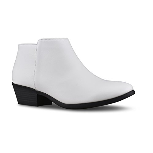 Bootie Standard Pu Heel Toe Suede Women's Ankle Western Faux Premier Stacked Round White pwvfqZdZ
