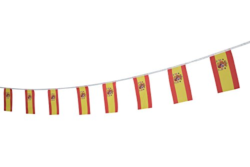 Spain Flag Spanish Flag,100Feet/76Pcs National Country Banner Flags,Party Decorations Supplies For Olympics,Bar,Sports Events,International Festival (Flag Spain National)
