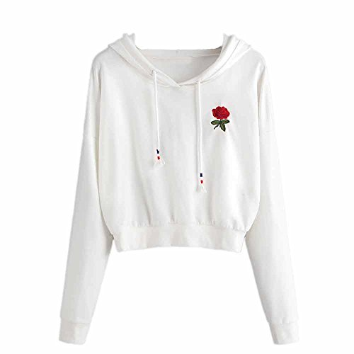 ANJUNIE tops Women Rose Embroidered Hoodie Sweatshirt,Long Sleeve Jumper Crop Pullover (White,XL)