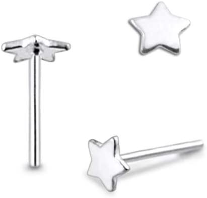 0.8x8MM Straight End Nose Pin Pack of 5 Pieces Plain Star 925 Sterling Silver 20Gx5//16