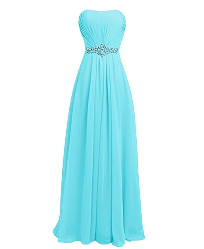 Plus Size Informal Wedding Dress (Women Sweetheart Bridesmaid Chiffon Prom Dresses Long Maid of Honor Gown Plus Size Ice Blue US24W)