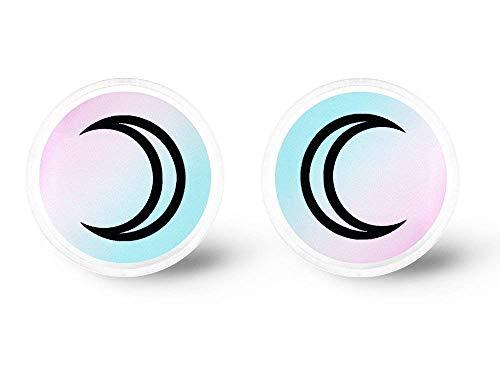 Grunge Lace - Pastel Crescent Moon Earrings - Moon Phase, Pastel Goth, Pastel Grunge, Aesthetic, Fairy Kei, Soft Grunge