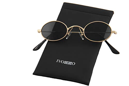 IVOZZO - Small Oval Frame Tinted Black Lens Sunglasses (Men Oval For Sunglasses)
