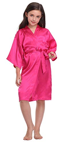 Flower Girl Satin Kimono Robes Basic Style Bathrobes for Wedding Spa Birthday,Hot Pink,8 -