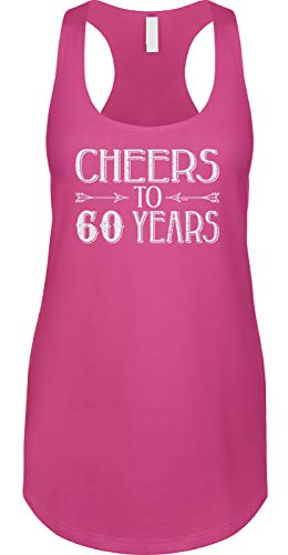 Blittzen Womens Tank Cheers to 60 Years - 60th Birthday, XL, Pink
