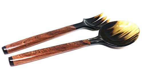 Horn salad servers - Beautiful zebu horn handicraft- Natural rosewood handle