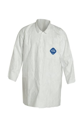 Tyvek Lab Coat - DuPont Tyvek 400 TY212S Disposable Lab Coat with Open Cuff, White, Small (Pack of 30)
