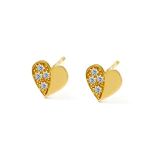Balluccitoosi 14k Gold Tiny Stud Earrings for Women & Girls - Real Hypoallergenic, Small & Minimalist (14k Heart Pave CZ Stud Earrings)