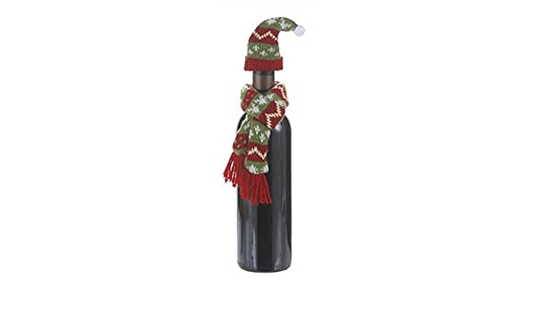 49934ed0c9c Amazon.com  Wine Bottle Snugglers Hat and Scarf Red Green  Home   Kitchen