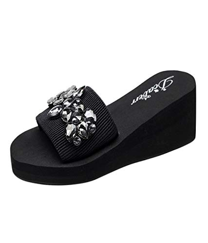 89e6ff3ebaba Putars Women Hand-Made Crystal Wedges Flip Flops Sandals Slippers Beach  Shoes Black