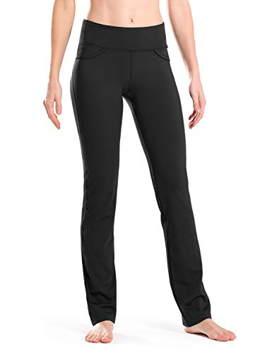 "Safort Women 28"" 30"" 32"" 34"" Inseam Regular Tall Straight Leg Yoga Pants, Workout Pants, Four Pockets, Black XL"