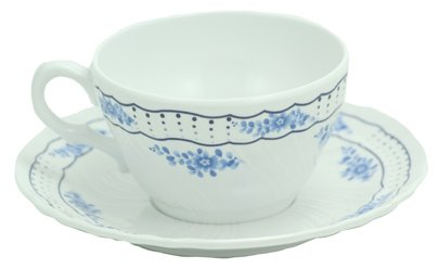 Victoria Durable Plastic Tea Cup and Saucer (Full Size for Children or Adults) Blue and ()