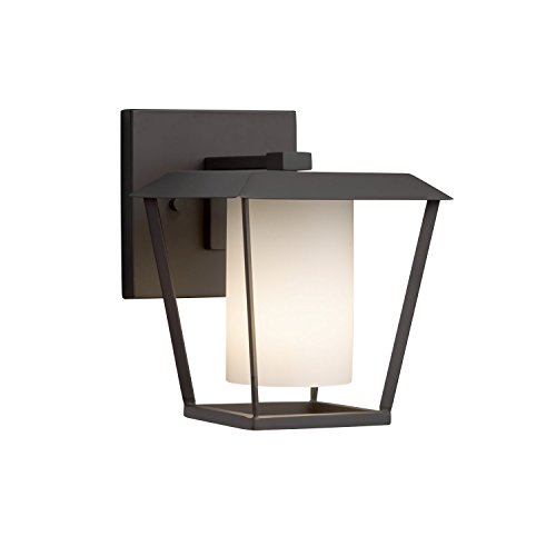 (Fusion - Patina Small 1-Light Outdoor Wall Sconce - Cylinder with Flat Rim Artisan Glass Shade in Opal - Matte Black Finish)