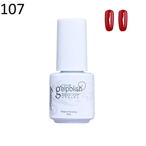 Non Toxic Solid Color UV LED Gel Polish Nail Art Varnish Long Lasting Primer - 107#
