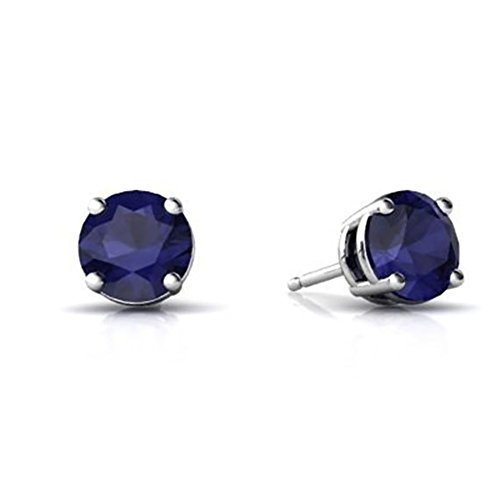 - Stud Earring Round Simulated Blue Sapphire 925 Sterling Silver, Size-10