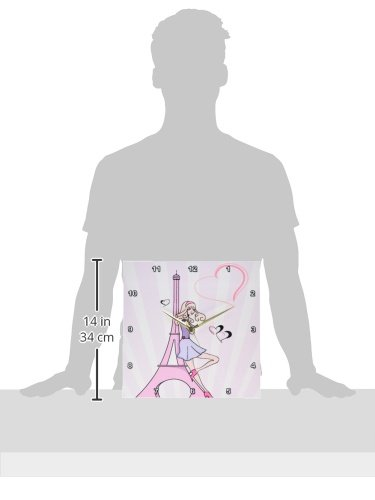 13 by 13-Inch 3dRose DPP/_106888/_2 Girly Pink Girl Eiffel Tower and Hearts Paris Love Vector Illustration-Wall Clock