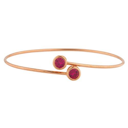 Elizabeth Jewelry Created Ruby Round Bezel Bangle Bracelet 14Kt Rose Gold Plated Over .925 Sterling Silver